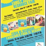 Image for the Tweet beginning: Family Summer Resource Fair June 14th