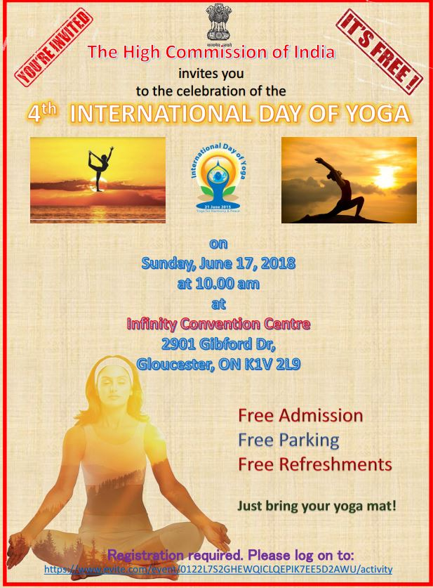 India In Canada On Twitter High Commission Of India Ottawa Will Be Celebrating 4th International Day Of Yoga On Sunday 17 June 2018 At Infinity Convention Centre Ottawa Please Register Online At