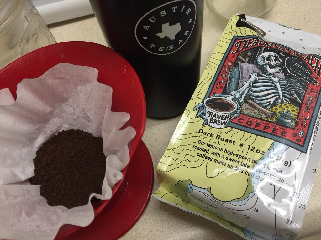 """New to #Alaska and in desperate need of #coffee, I couldn't resist buying this blend """"even a dead man would reach for"""" from @RavensBrew... <br>http://pic.twitter.com/61DhRFTs4Y"""