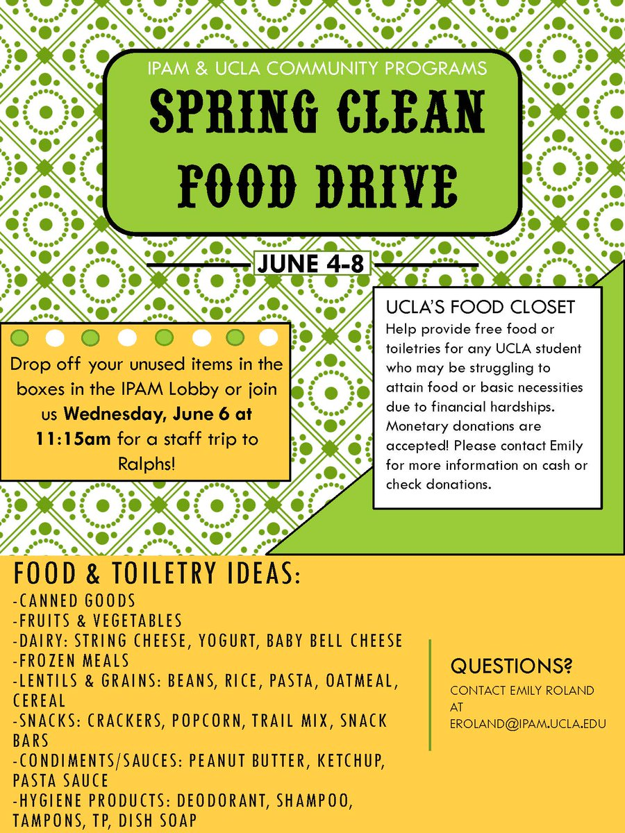 Cleaning out your apt to move out soon? Spring Clean #fooddrive with @ipam_ucla and @uclacpo June 4-8! Drop off unused items in the IPAM lobby (Portola Plaza bldg across from Moore Hall). Help provide food/toiletries for any #UCLA student struggling to attain basic necessities.