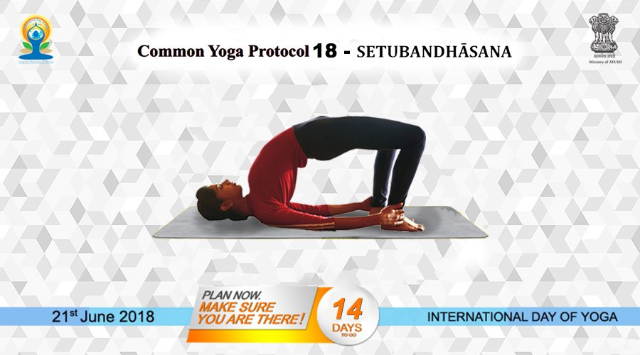 Common Yoga Protocol (CYP) 18 SETUBANDHĀSANA (The Bridge Posture) Setubandha means formation of bridge. In this posture, the body is positioned like a bridge, hence the name. This is also called as Catuspādāsana. yoga.ayush.gov.in #AYUSH #ZindagiRaheKhush #IDY2018
