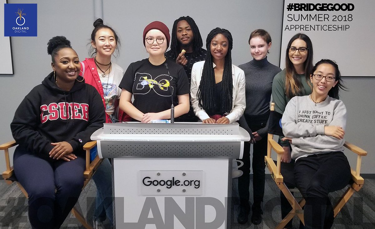 A warm welcome to Oakland Digital&#39;s UX / Digital Design Apprentices of summer 2018! Leveling up at #Google - our studio away from home every Wednesday! YES, creativity can positively change the world in the Bay Area &amp; beyond!! #OaklandDigital #BRIDGEGOOD #GoogleCommunitySpace<br>http://pic.twitter.com/Gepn9KvNeV