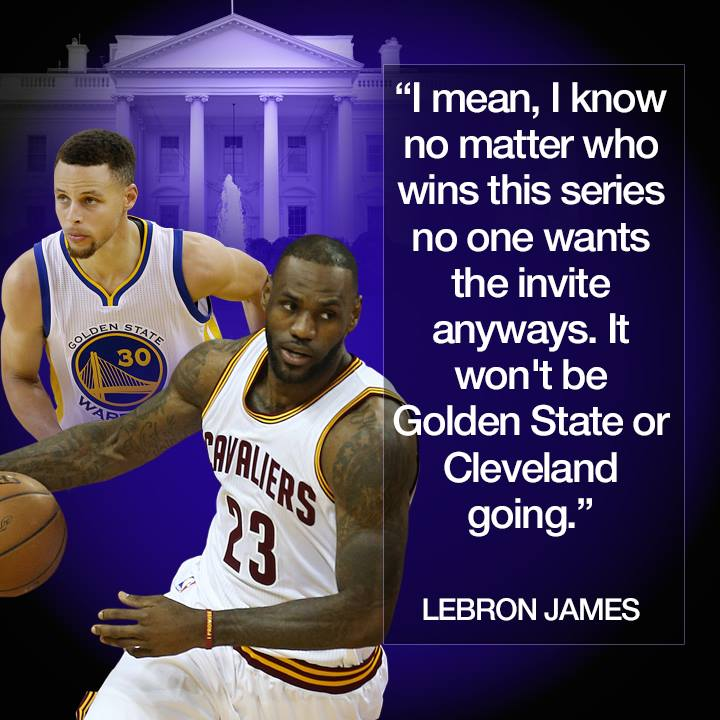 pretty nice a71ea 4348e LeBron James says President  realDonaldTrump shouldn t bother inviting the  NBA champs to the White House no matter which team wins.