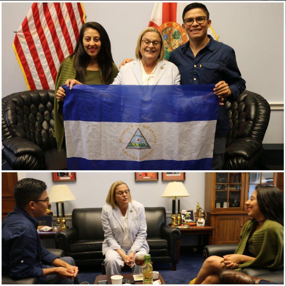 #SOSNicaragua Ileana Ros-Lehtinen: 'Muy inspirada en reunirme con Victor y Zayda, valientes líderes universitarios que anhelan una Nicaragua libre y democrática. Estos estudiantes representan la voz de tantos jóvenes en protestar y denunciar la violencia del régimen de Ortega...'