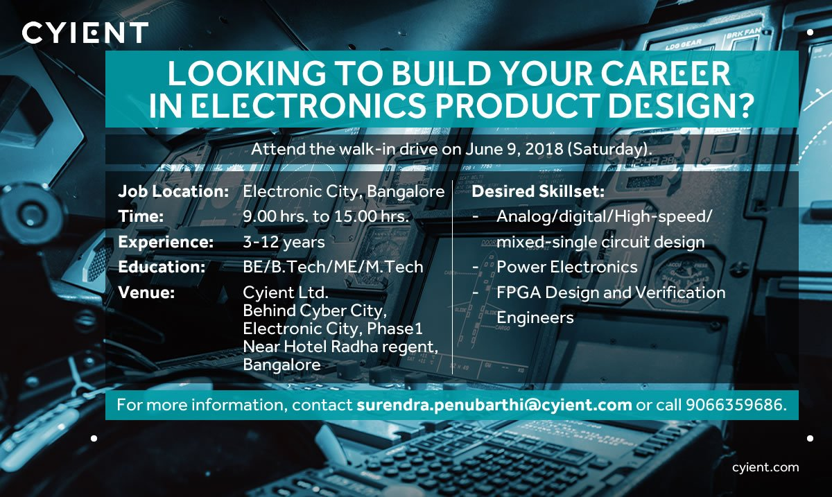 Cyient On Twitter Were Hiring Engineers To Deliver Digital Design Electronic Circuit Software Electronics Solution 935 Pm 6 Jun 2018