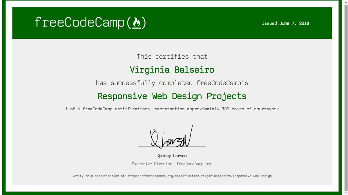 Virginia Balseiro On Twitter Woohoo Finished Responsive Web Design Projects At Freecodecamp A Nice Way To Celebrate Day 50 Of 100daysofcode