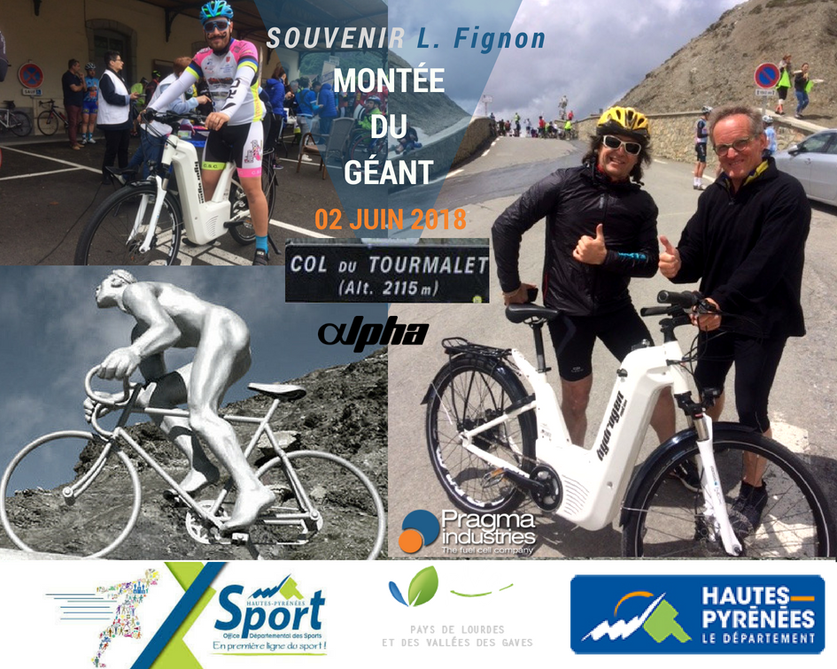 Retour sur la montée du Géant, souvenir Laurent Fignon, qui s'est déroulée ce weekend. Cette balade cyclo-festive est organisée par l'Office Départemental des Sports des Hautes-Pyrénées tous les ans. #tourmalet #ecomobilite #hydrogen #veloHydrogene #fuelCell
