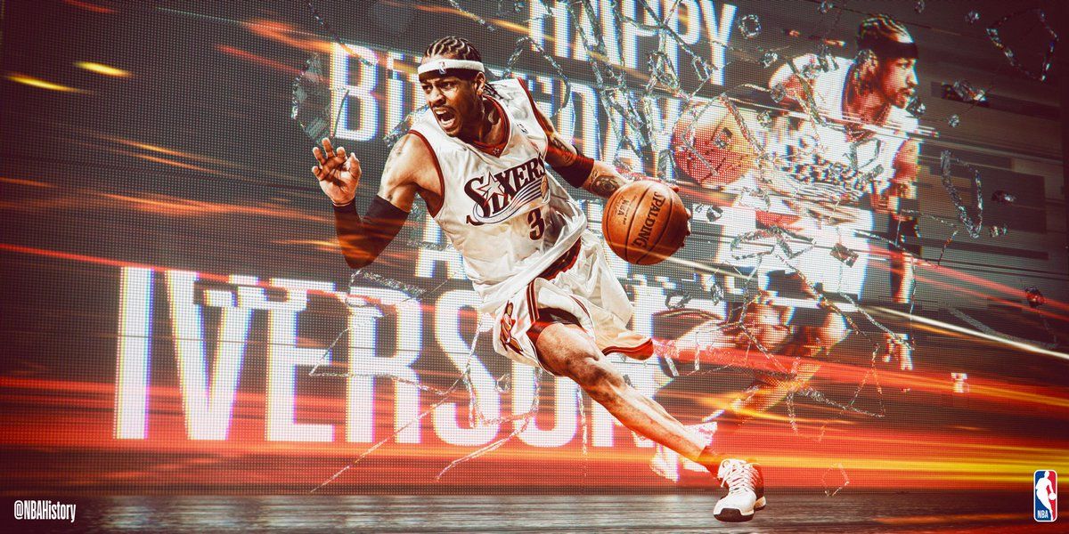 Happy 43rd Birthday to 11x All-Star, 4x Scoring Champ and Hall of Famer, @alleniverson! #NBABDAY