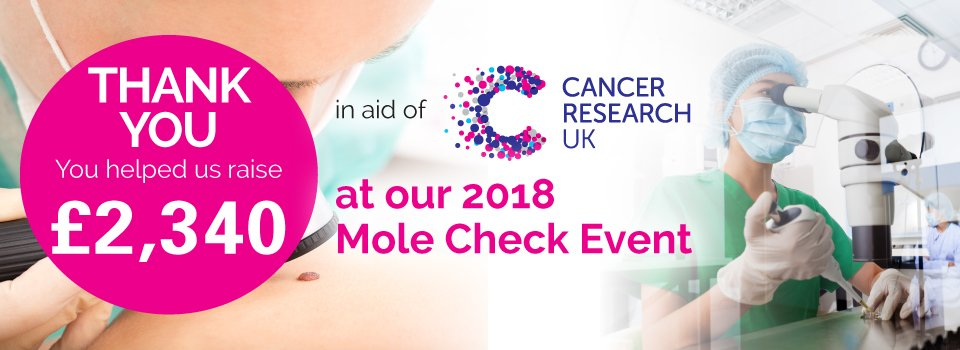 Thank you to everyone who attended our Charity Mole Check Event on Saturday 26th May. With your help we managed to raise £2,340 for @CR_UK Research UK. https://t.co/9M31uSHBrF https://t.co/ts2AiEfeWH