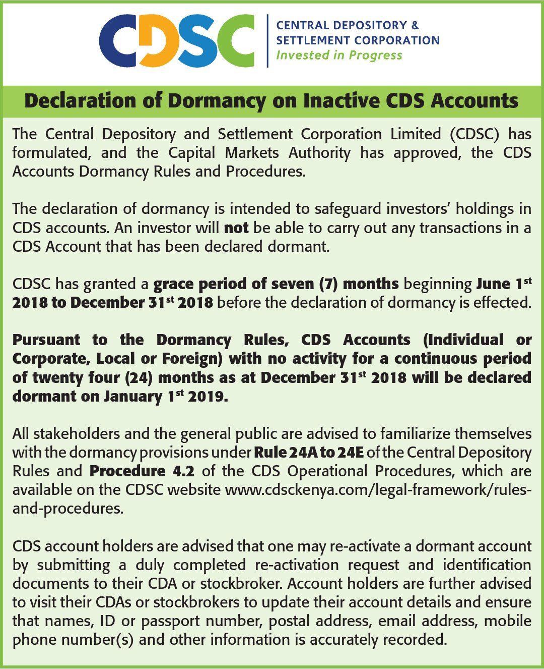 Declaration of Dormancy on Inactive CDS Accounts | Daly & Inamdar