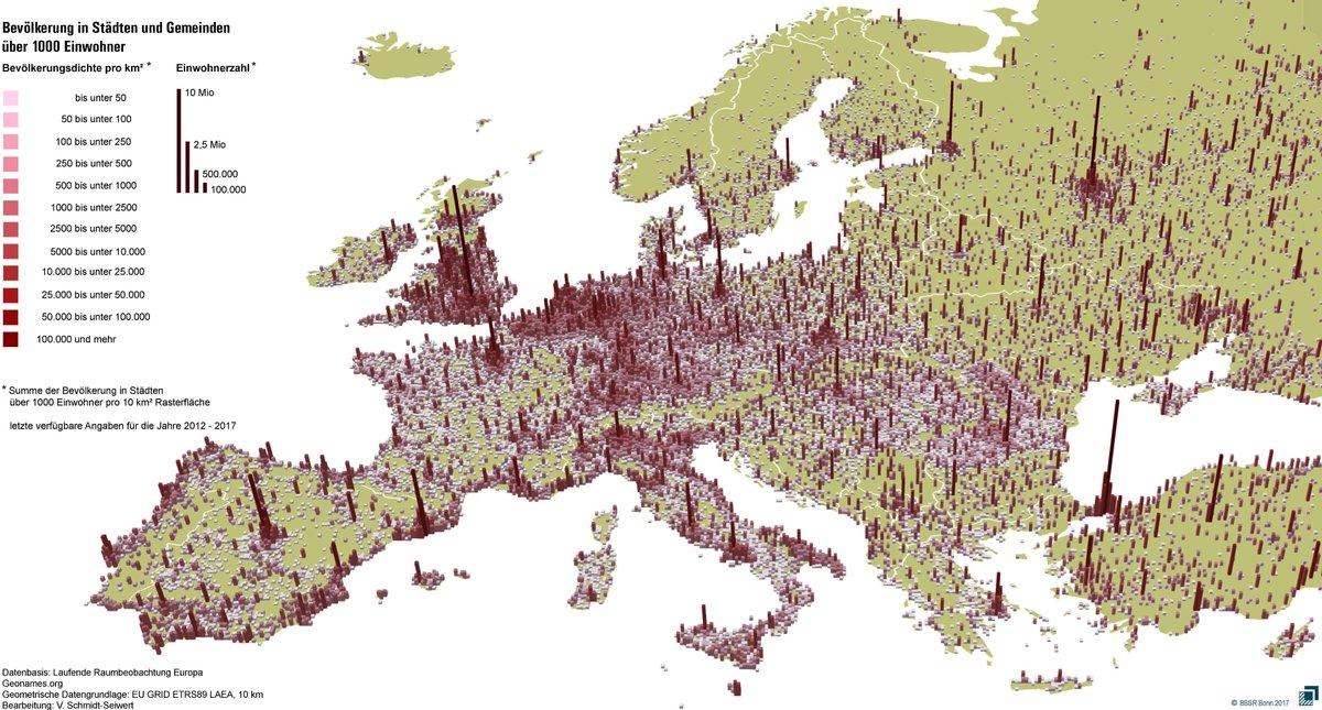 Karte Von Europa Mit Städten.Bbsr On Twitter Europa Karte Bevölkerung In Städten Und