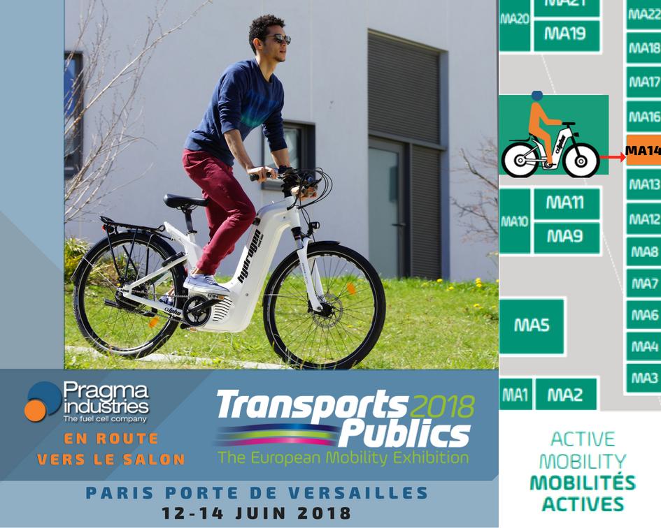 @PragmaFuelCells participera au @Transp_Publics qui se tiendra à @Paris  du 12 au 14 juin Porte de Versailles. Rdv stand MA14 secteur Mobilités actives. @GART_officiel @UTP_Fr #ecomobilite #hydrogen #veloHydrogene #H2bike #cleantech #cleanenergy #SolutionVélo #mobiliteDouce