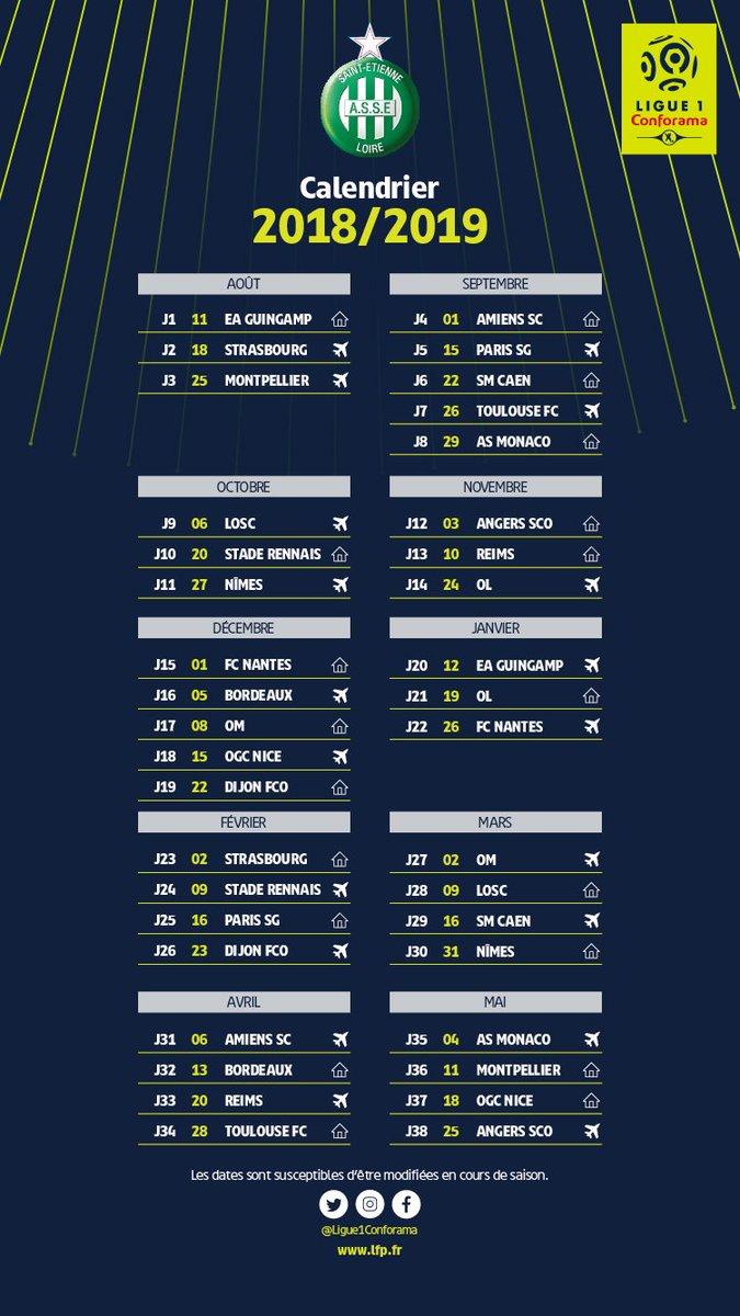 ASSE   Le calendrier complet des Verts pour la saison 2018 2019 de L1