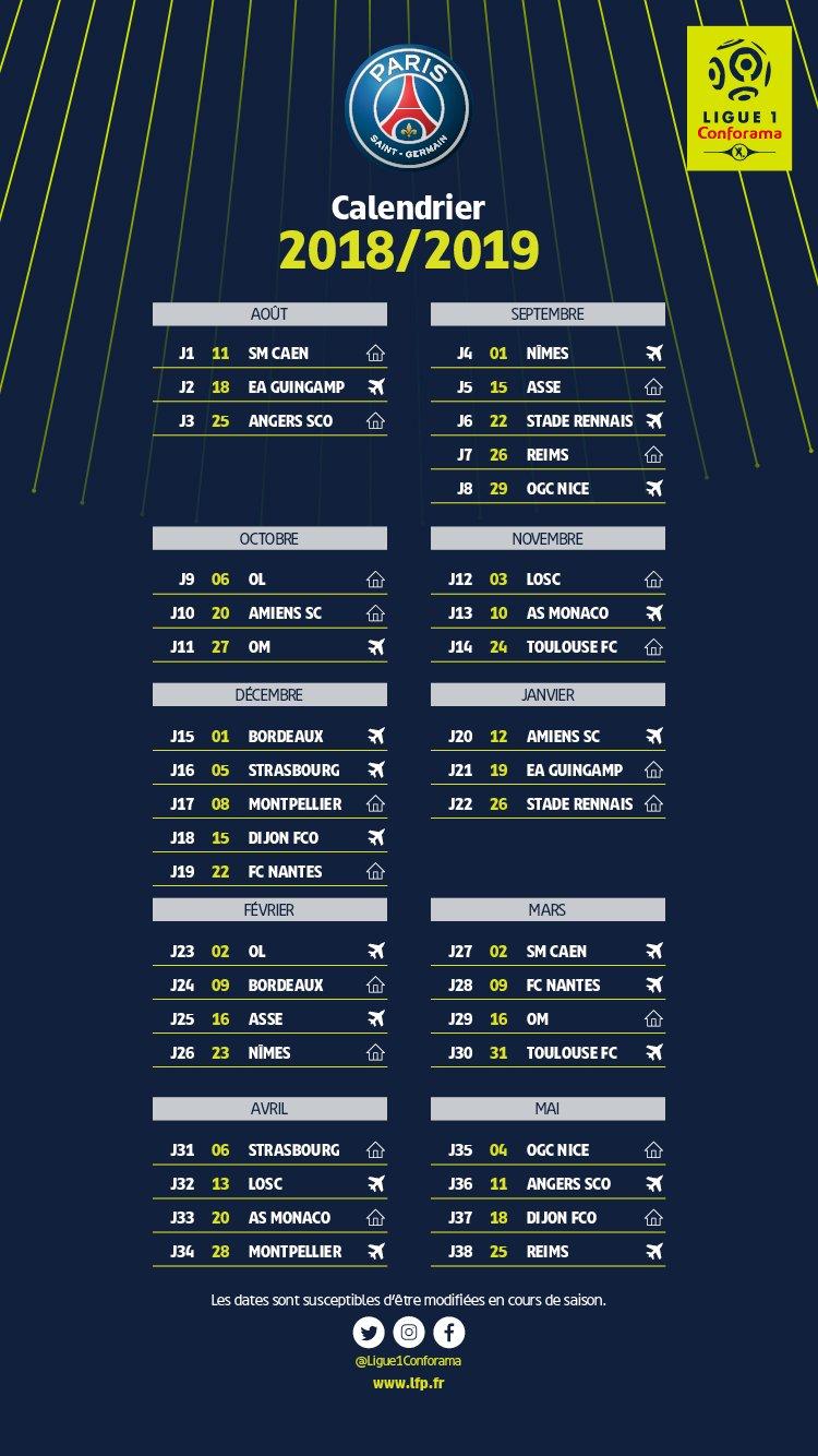 Calendrier L1 Psg.Club Le Calendrier 2018 2019 Du Psg En Ligue 1 Devoile
