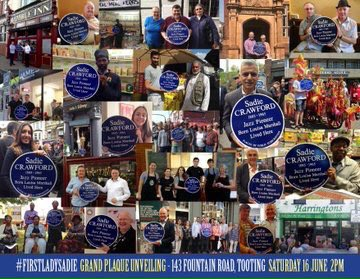A last chance to get in the picture with a remarkable piece of #Tooting history #jazzpioneer #SadieCrawford the first woman to be commemorated with a plaque in #Tooting - We'll be on our final TootingWalkabout with her TOMORROW Don't miss out on a photo with #FirstLadySadie