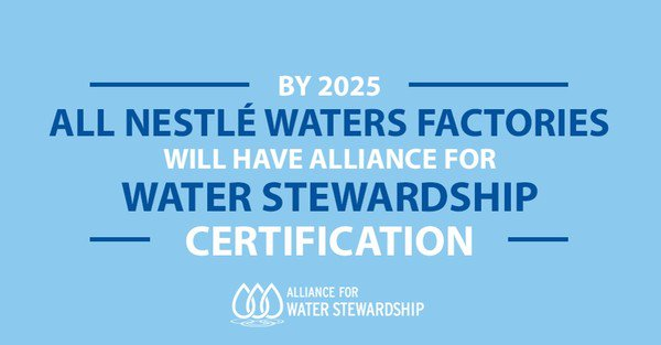 Nestlé is proud to announce that 100% of our Nestlé Waters sites will be AWS certified by 2025. We care for water. https://t.co/vYVyirJpsT https://t.co/9UxpfZRbcT