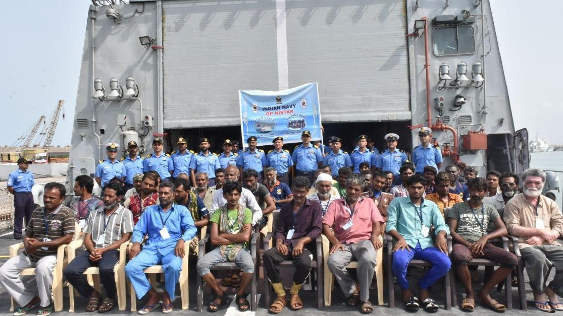 Indian Naval Ship Sunayna reaches Gujarat with 38 Indians saved from cyclone hit Socotra Island of Yemen