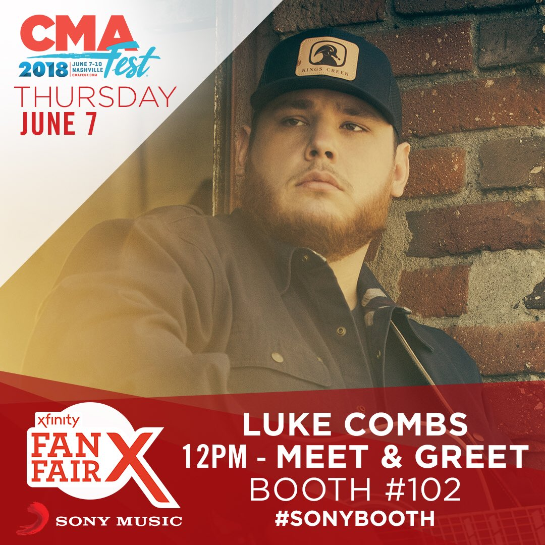 Luke combs on twitter cmafest ill be at sony booth no 102 601 am 7 jun 2018 m4hsunfo