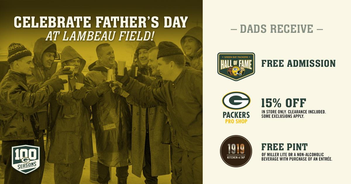Celebrate Father's Day at @LambeauField with these great deals for your #PackersDad!  �� https://t.co/nGDqFne0aQ https://t.co/6xkzCAvzsr