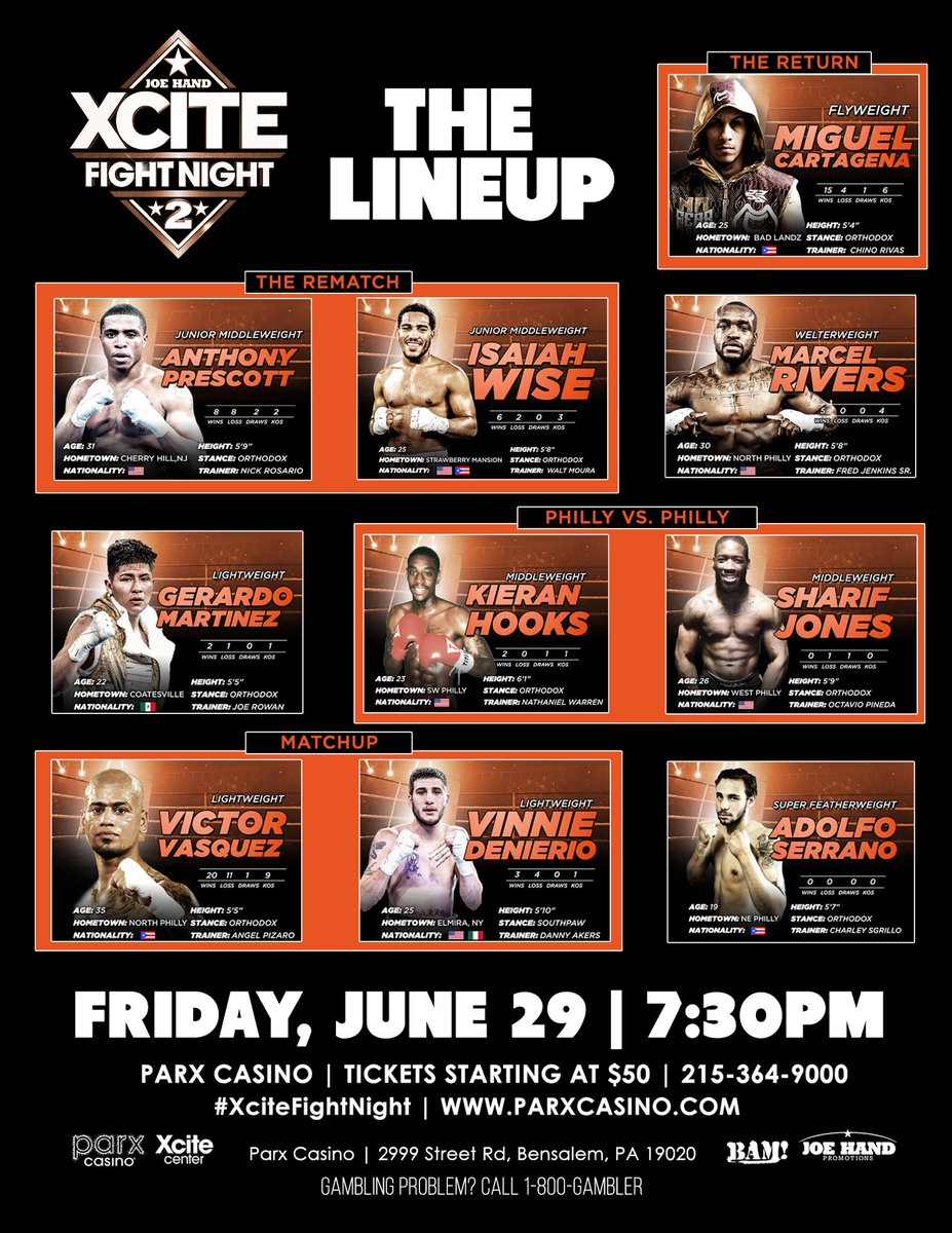 Don't Miss #XCiteFightNight2 Live From The @ParxCasino In