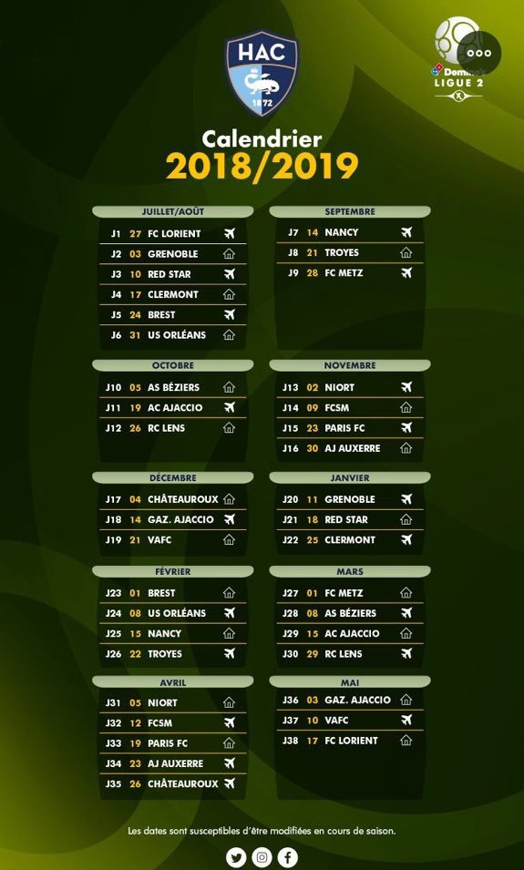 Calendrier Hac.Hac Football On Twitter Le Calendrier 2018 2019 Du