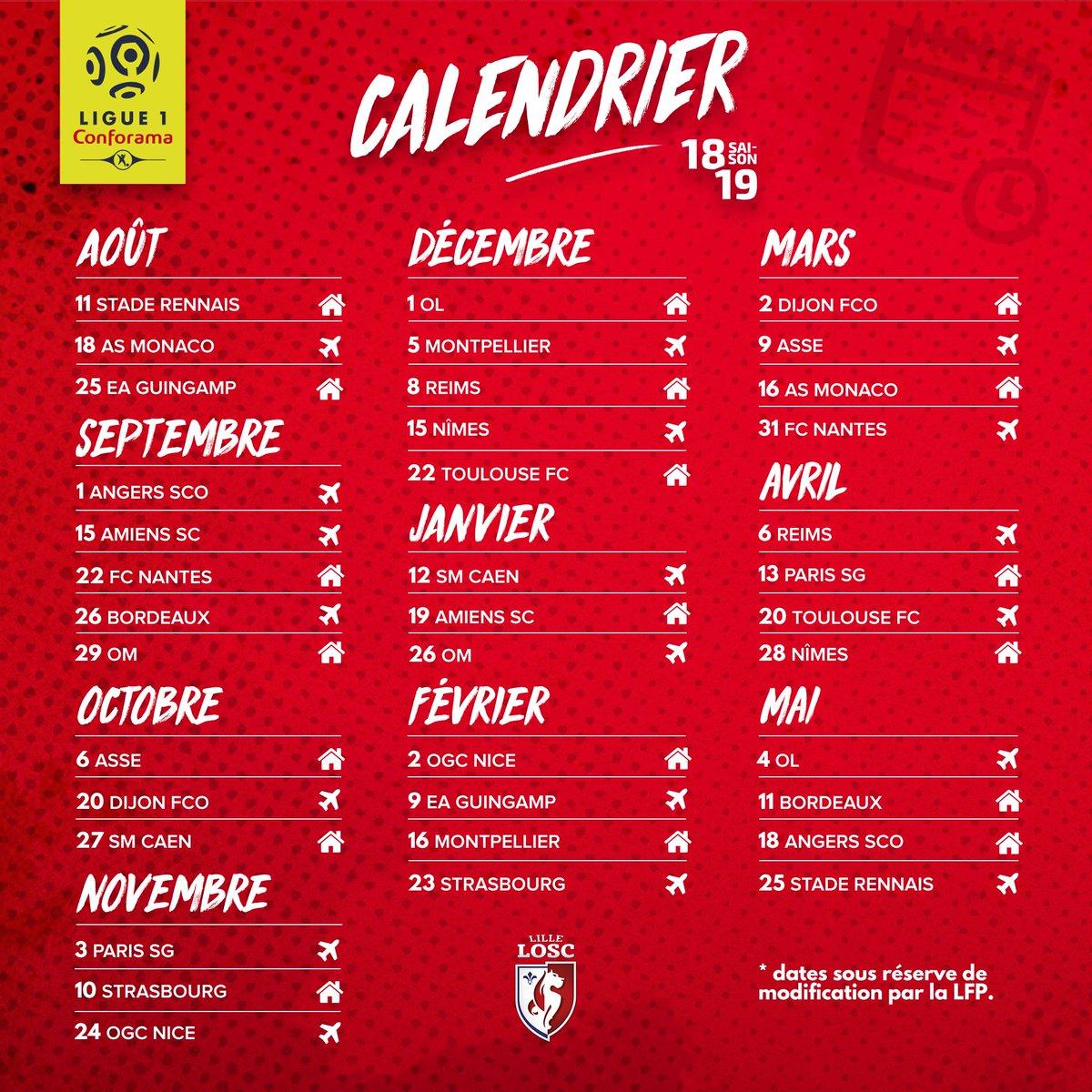 Calendrier Et Resultats Ligue 1.Losc Le Calendrier Complet De Lille Pour La Saison 2018