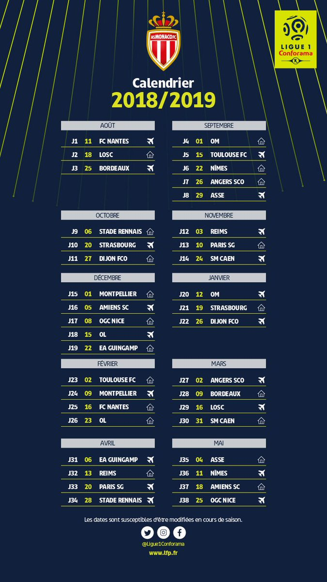 Calendrier Et Resultats Ligue 1.Asm Le Calendrier Complet De Monaco Pour La Saison 2018