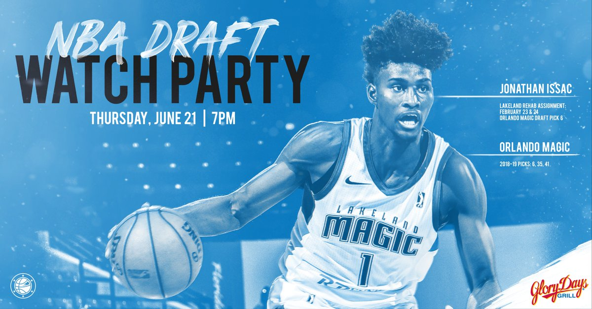 The @OrlandoMagic have picks 6, 35 & 41 and well be watching live at @GloryDaysGrill in Lakeland, FL. Enjoy drink specials, giveaways & more. RSVP ➡️ bit.ly/2M9H4vQ