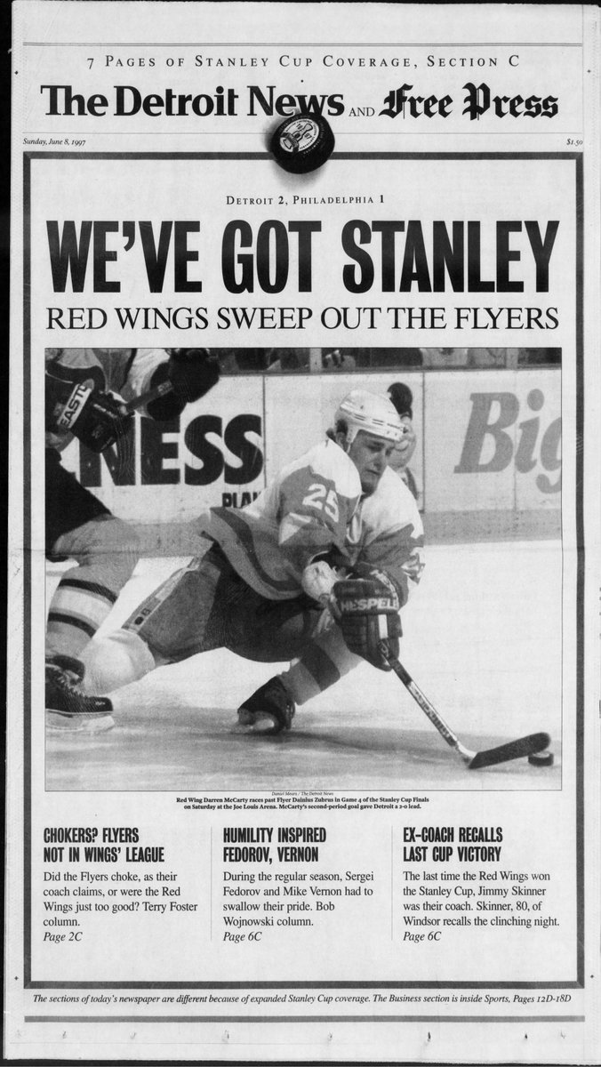 Freep Sports On Twitter 21 Years Ago Tonight The Detroitredwings Won The Stanleycup Their First Nhl Championship Since 1955 Throwback To Our Freep Fronts The Following Morning Https T Co Adqmvumlhp