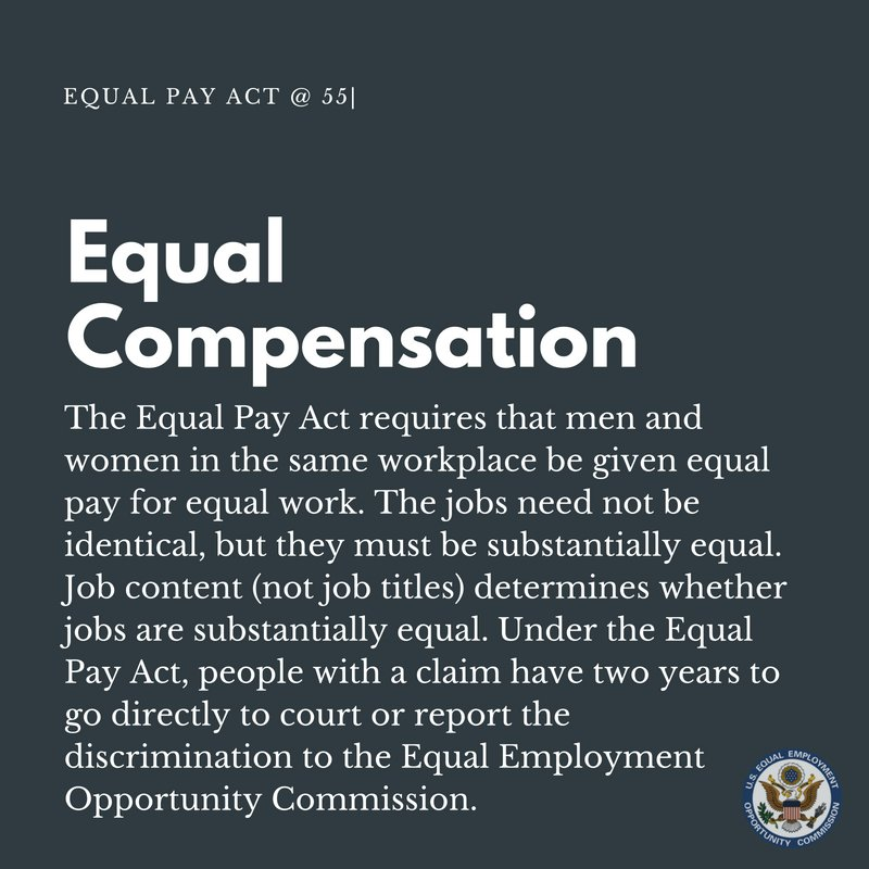 the effects of the equal pay act I am delighted today to approve the equal pay act of 1963, which prohibits arbitrary discrimination against women in the payment of wages this act represents many years of effort by labor, management, and several private organizations unassociated with labor or management, to call attention to the unconscionable practice of paying female.
