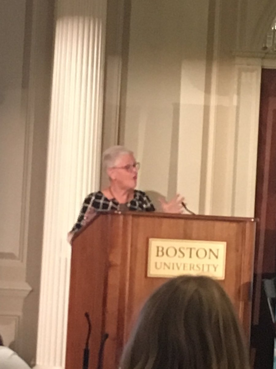 """Former Obama EPA Administrator and @UMassBoston alum Gina McCarthy tearing it up at #BostonClimateSummit. """"I never expected the United States to abandon the #climatechange fight. And guess what? It hasn't."""" Mayors and grassroots will do this.<br>http://pic.twitter.com/7NZxjvJaJO"""