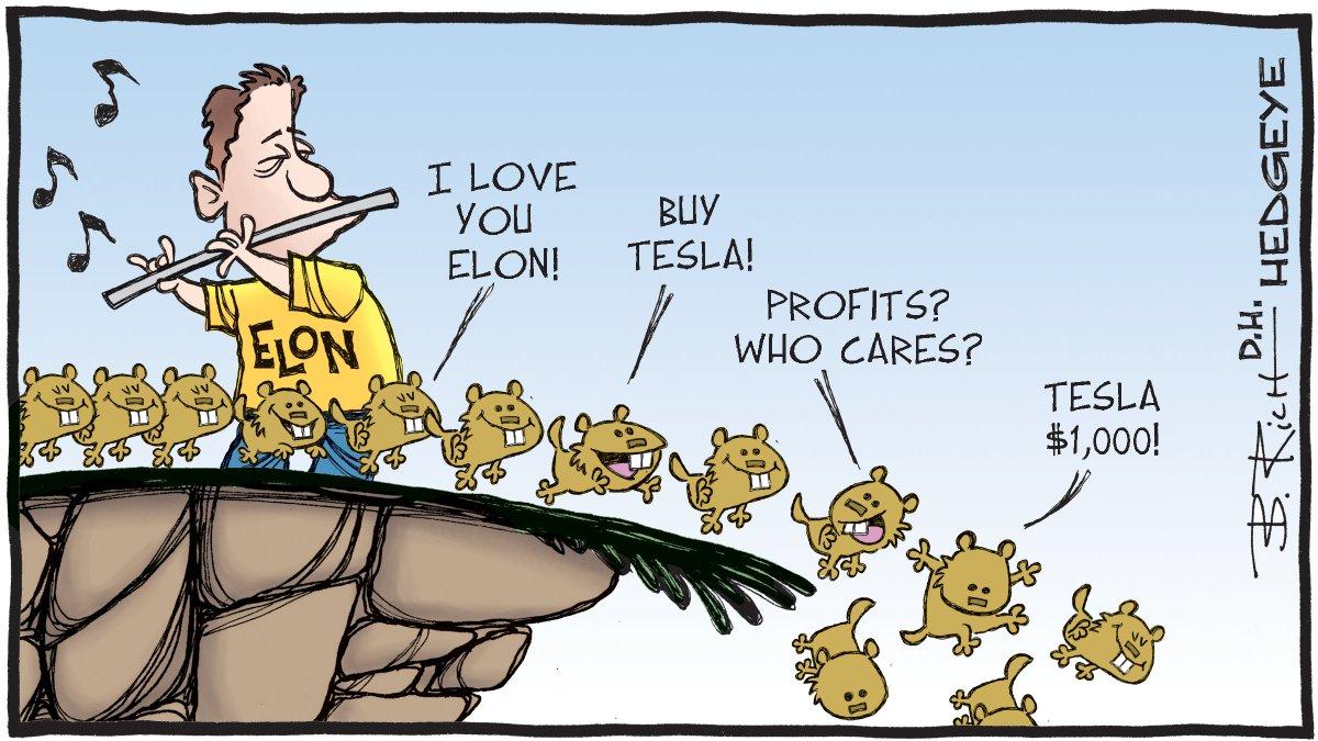 """Hedgeye on Twitter: """"Cartoon of the Day: Teslemmings @elonmusk $TSLA #Tesla  https://t.co/Z5OCvy40ow… """""""