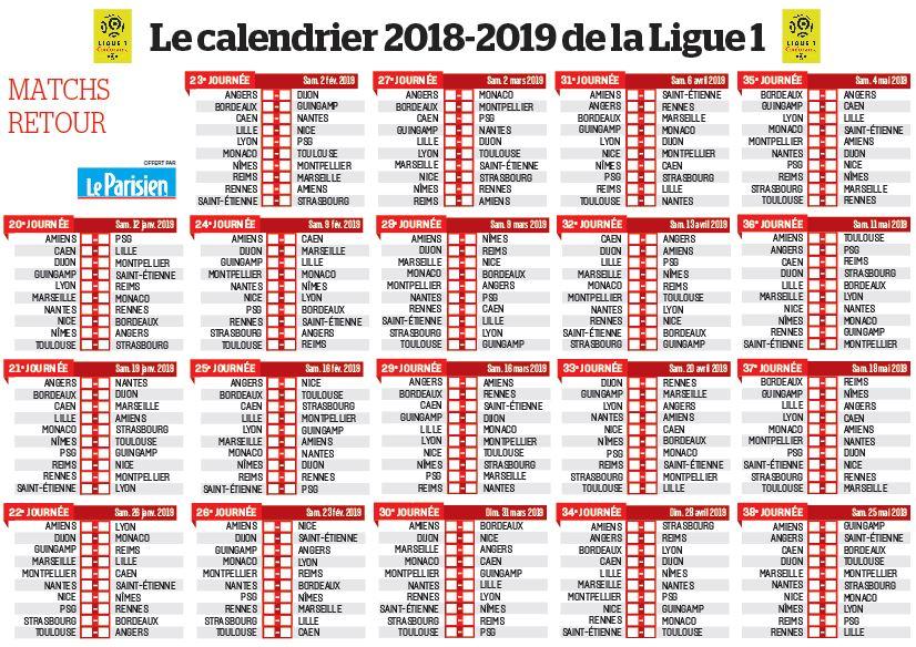 Calendrier L1 Psg.Ligue 1 Pdf Calendrier Telecharger Calendrier Ligue 1