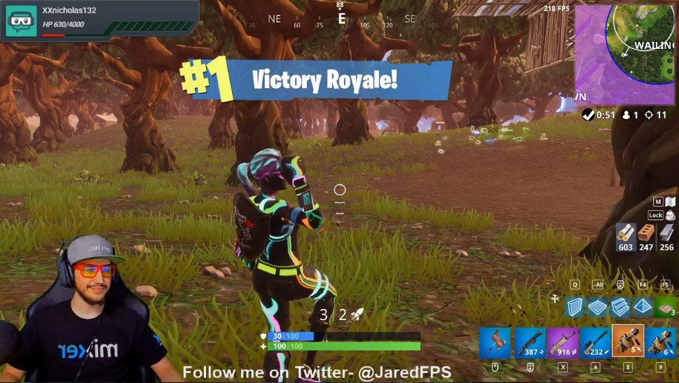 Solid 8th #MixerSolos @FortniteGame #VictoryRoyale for @JaredFPS today!  Good job bro!