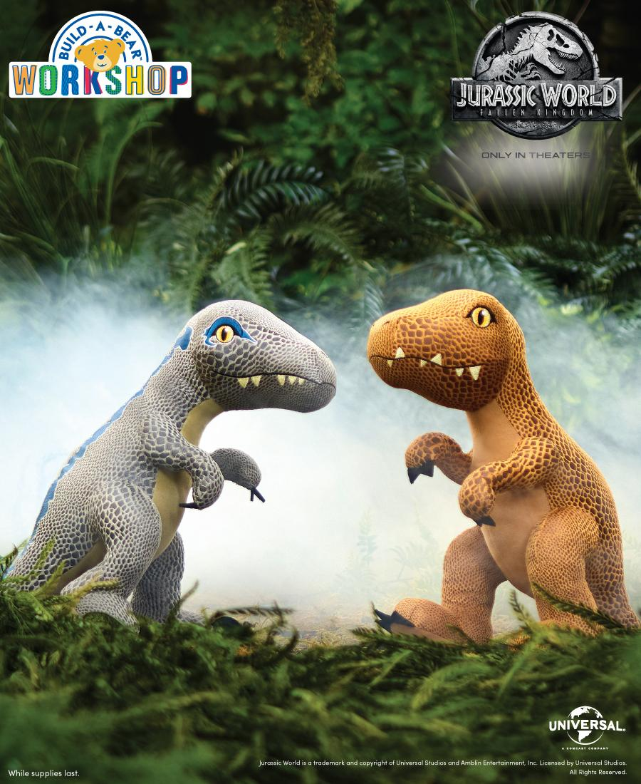 94a7c26937e Our NEW  JurassicWorld Tyrannosaurus Rex and  JurassicWorld Velociraptor  Blue furry friends are stomping into the Workshop for some prehistoric fun!