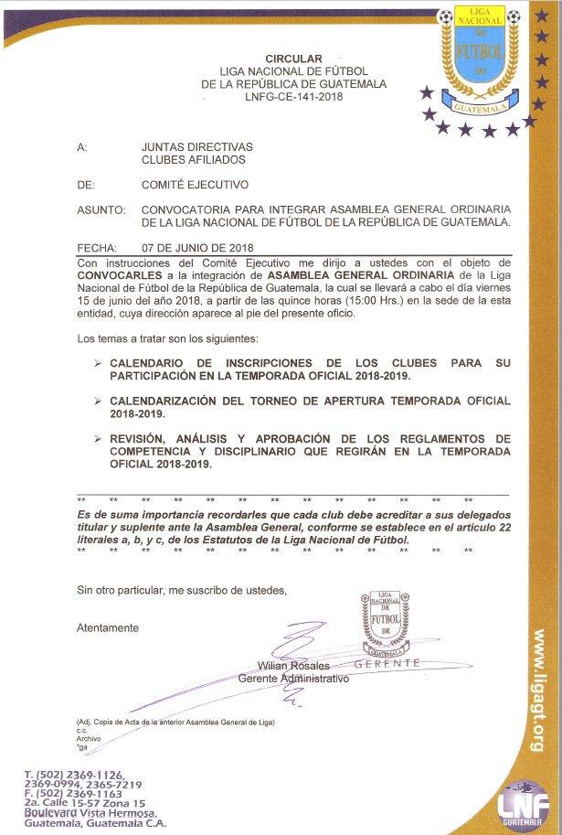 Calendario Primera Division Futbol Guatemala 2019.Ligagt On Twitter Convocatoria Asamblea General