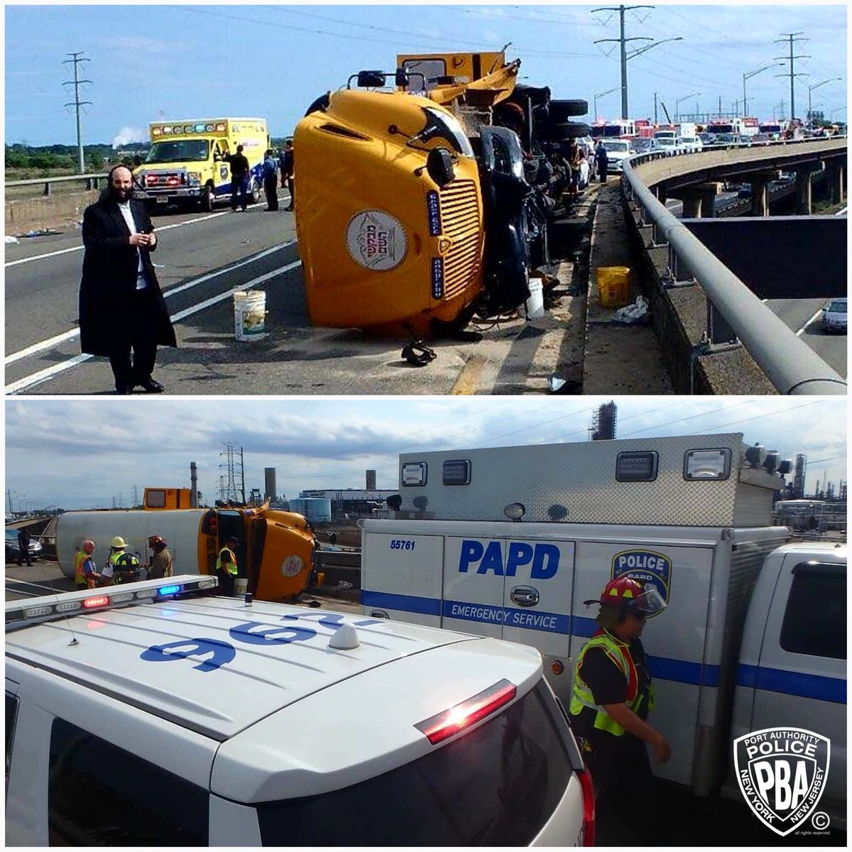 #PAPD ESU on scene of overturned school bus near Goethals Bridge &amp; NJ Turnpike with NJ State Police &amp; Linden PD &amp; FD. Some minor injuries reported. Consider alternate route. #PAPDPROTECTSNYNJ #NJSP #lindenpd #lindenfd #PAPDESU<br>http://pic.twitter.com/Nw2YOPjQEc