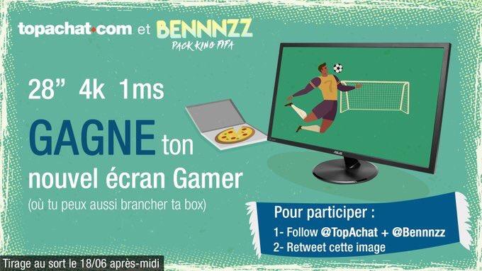 Encooore un concours 🕺💃 Grâce à @TopAchat matte le mondial ou joue à FUT WC en ultra HD 😎 Un écran 28 Asus 4K dune valeur de 300€ à gagner 🔥 Pour participer, 👉 #RT ce tweet 👉 Follow @TopAchat et @Bennnzz Tirage le 18/6 Good luck :)