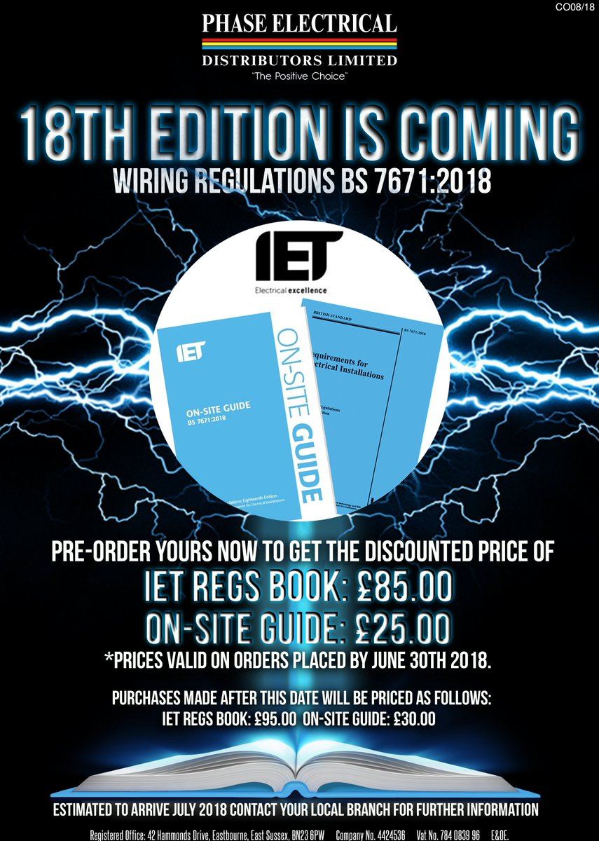 Phase Electrical On Twitter Pre Order Your 18th Edition Regulation Iet Wiring Regulations Book Books From Any Branch For A Very Special Price Only Available Limited Time You Dont Want To Miss This