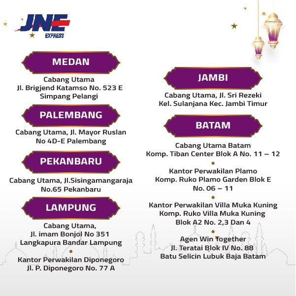 Jne Express On Twitter Medan Palembang Pekanbaru Jambi Batam Dan Lampung Hari Ini Kami Tetap Buka Dan Kami Siap Mengantarkan Paket Kebahagiaan Kamu Untuk Orang Terkasih Untuk Pengiriman Cek Cabang Jne Berikut
