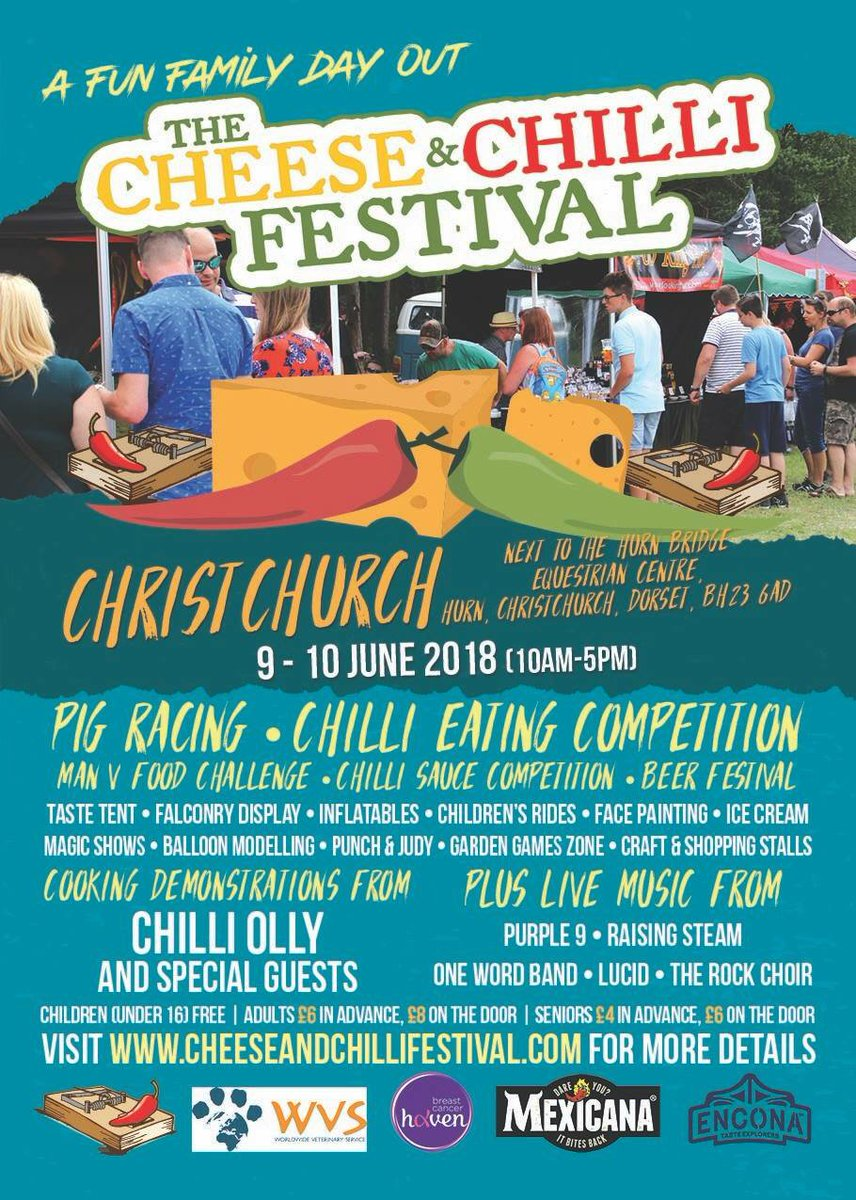 This weekend it's time for the @Cheeseandchillifestival in #Christchurch. Head over there to see @BlackCowVodka @Ministryoffudge and many more! Who else is going?  #scrumptioussouthcoast #eatlocal #foodies<br>http://pic.twitter.com/6ztpw9l8JU