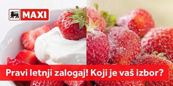 Udovoljite sebi! Dođite u Maxi po najsočnije jagode ovog leta! Mi ne možemo da se odlučimo sa čime su nam ukusnije! Jagode sa šlagom ili šećerom? https://t.co/FeFAxUeNwb