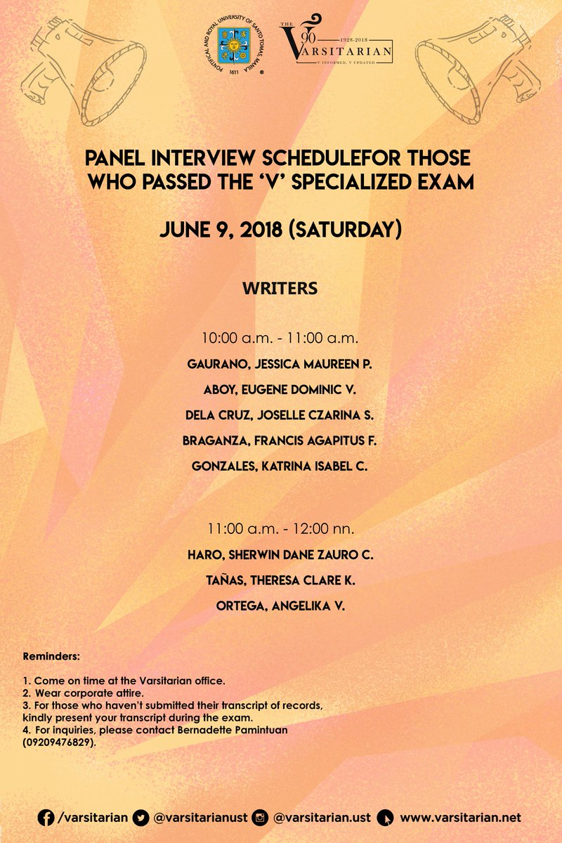 "The Varsitarian on Twitter: ""Here is the list of successful applicants for  interview for Publication Year 2018 to 2019.… """