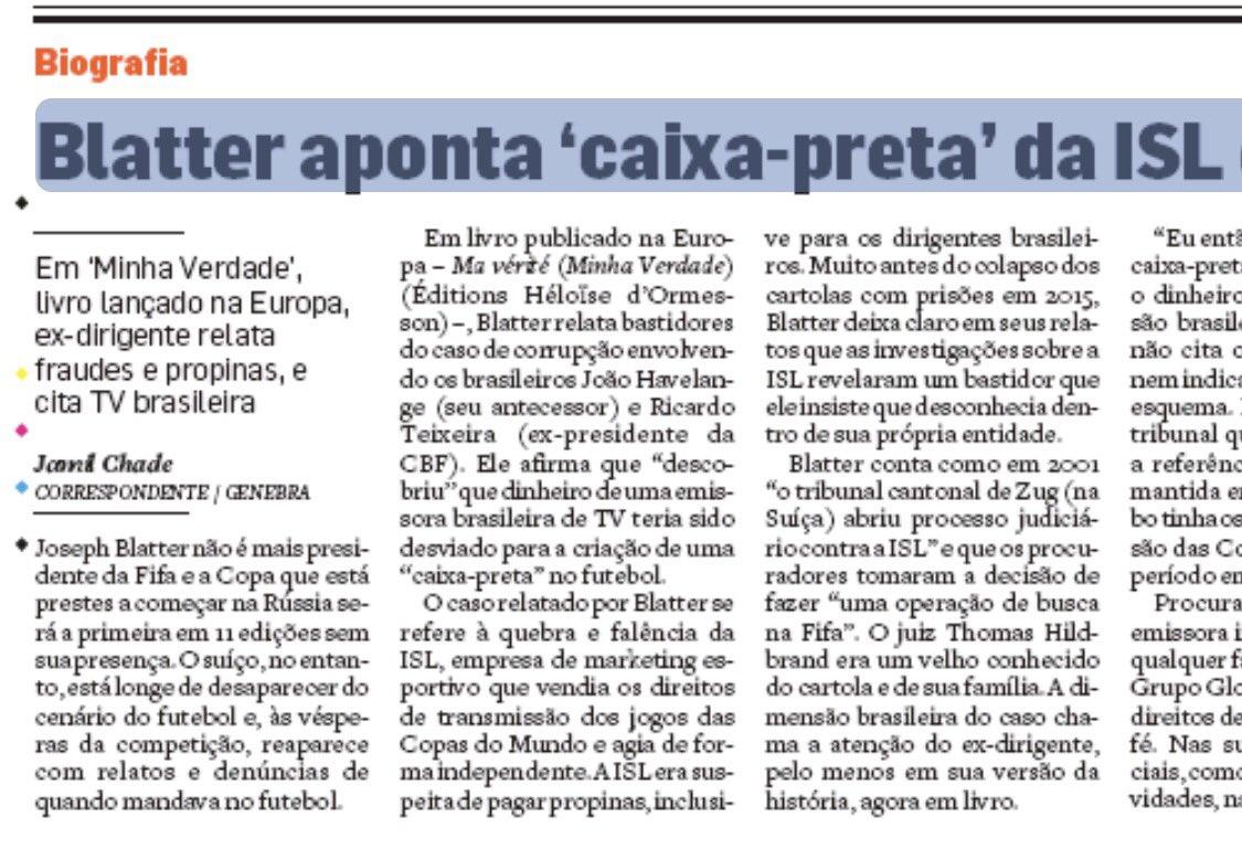 38ab3796aa Blatter  dinheiro de uma emissora brasileira foi desviado para criar  caixa-preta no futebol