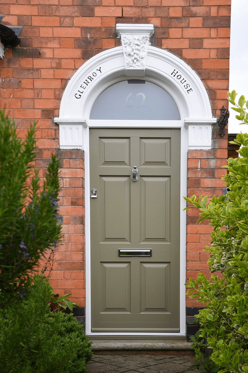 Design Frontdoor In Oxford Clay With A White Frame Featuring Sandblasted Glass Toplight Etched House Number Along Chrome Ironmongery