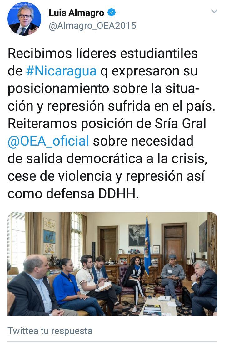 #SOSNicaragua Secretaría Gral de la OEA solicita a Estado de Nicaragua seguridad para líderes estudiantiles amenazados: Víctor Cuadras, Zayda Hernández, Fernando Sánchez; y Migueliuth Sandoval Cruz, viuda de periodista Angel Gahona.