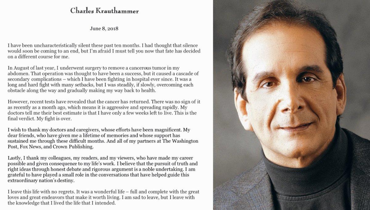 Charles Krauthammer, Cancer, Diagnosis | Baaz