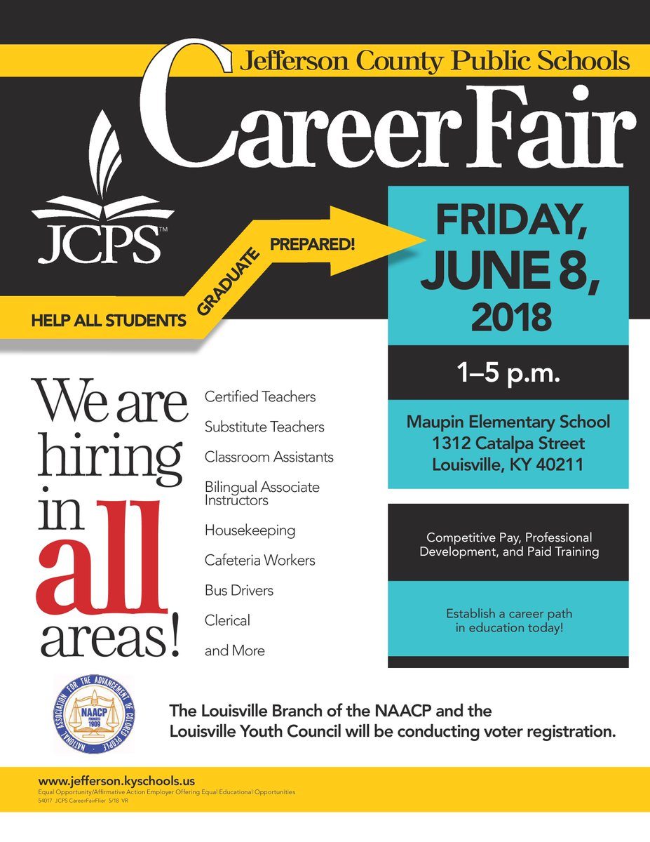 Happening Today: @JCPSKY Career Fair from 1 to 5 p.m. at Maupin Elementary! #WeAreJCPS #Jobs #Louisville