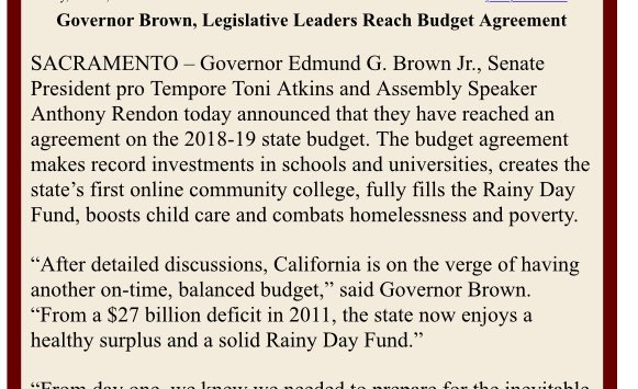 John Myers On Twitter Announcement Of A Cabudget Deal Though