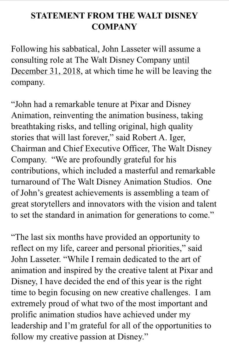 Here is Lasseter's statement: